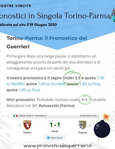 Singole vincenti Torino Parma del 20 Giugno 2020