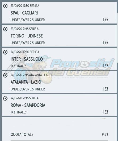 Pronostici Serie A 27 Giornata La Multipla Del 23 E 24 Giugno 2020