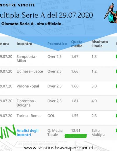 multipla vincente Serie A 37 giornata del 29 luglio 2020 -sito ufficiale-