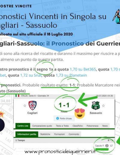 pronostici vincenti in singola Cagliari Sassuolo del 18 luglio 2020 -sito ufficiale-