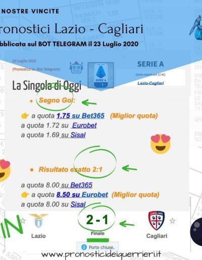 pronostici vincenti in singola Lazio Cagliari del 23 luglio 2020 -Bot Telegram-