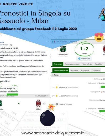 pronostici vincenti in singola sassuolo Milan del 21 luglio 2020 -gruppo facebook-