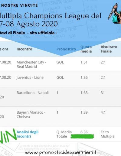 multipla champions league del 7-8 agosto 2020 -sito ufficiale-