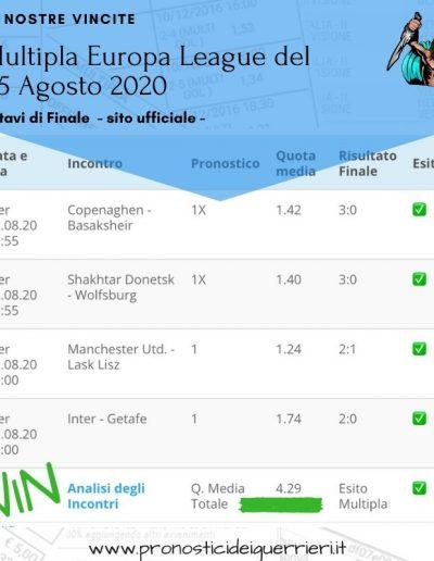 multipla europa league del 5 agosto 2020 -sito ufficiale-