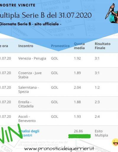 multipla vincente Serie B 38 giornata del 31 luglio 2020 -sito ufficiale-