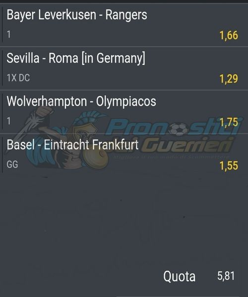 pronostici europa league ottavi di finale 6 agosto