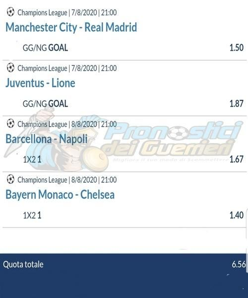 quote eurobet pronostici ottavi champions league 8 agosto 2020