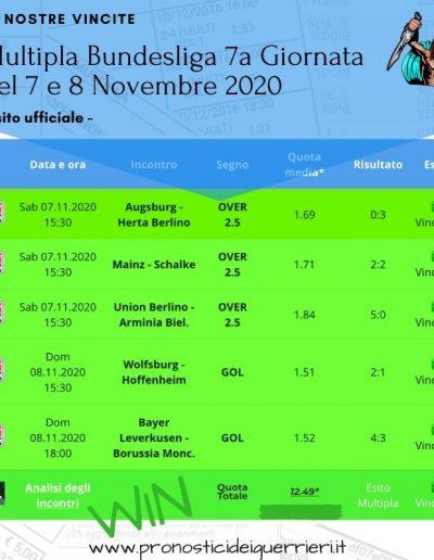 multipla vincente bundesliga del 7 e 8 novembre 2020
