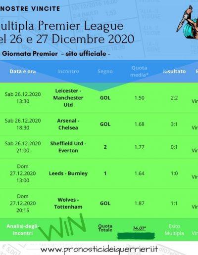 multipla vincente premier league 26 27 dicembre 2020 - sito ufficiale -