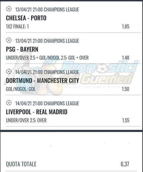 quote snai pronostici champions league 13 14 aprile 2021