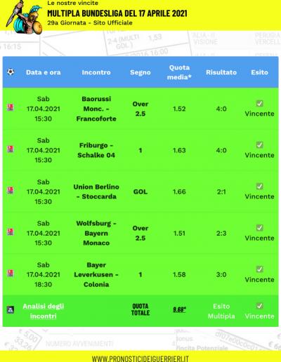 multipla vincente bundesliga 17 aprile 2021 sito ufficiale