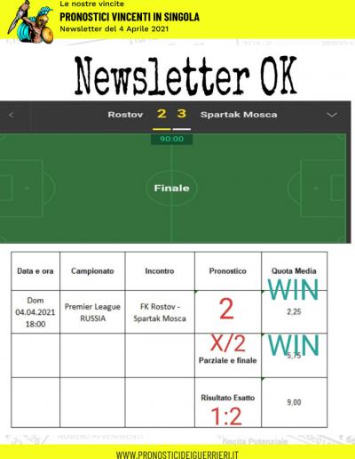 pronostici in singola vincenti del 4 aprile 2021 newsletter