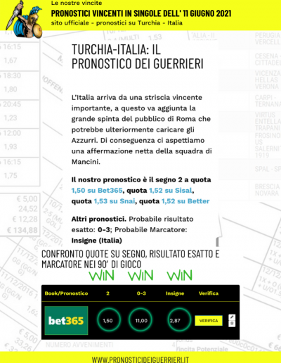 Pronostici in singola vincenti del 11 giugno 2021 turchia italia sito ufficiale